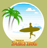 Hawaiian surfing label Royalty Free Stock Photo