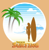 Hawaiian surfing label Royalty Free Stock Image