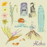Hawaiian symbols set stock illustration