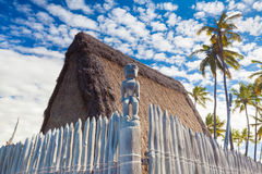 Hawaiian thatched roof dwellings Royalty Free Stock Image