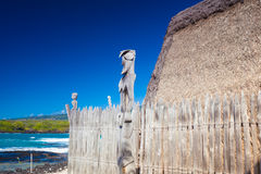 Hawaiian thatched roof dwellings Royalty Free Stock Images