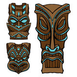 Hawaiian tiki god statue carved wood vector illustration Stock Image