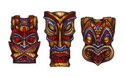 Hawaiian tiki god statue carved wood. Watercolor illustration vector illustration