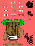 Hawaiian tiki  mask cartoon expression bad Royalty Free Stock Photos