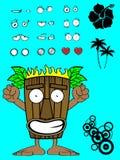 Hawaiian tiki  mask cartoon expression happy Royalty Free Stock Photos