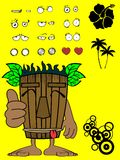 Hawaiian tiki  mask cartoon expression happy2 Royalty Free Stock Photos