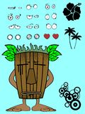 Hawaiian tiki  mask cartoon expression sad Royalty Free Stock Photos