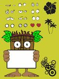 Hawaiian tiki  mask cartoon expression singboard Stock Photos