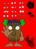 Hawaiian tiki  mask cartoon expression stop Stock Photo