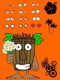 Hawaiian tiki mask cartoon expression Stock Images