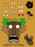 Hawaiian tiki  mask cartoon expression 5 Stock Photography
