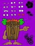 Hawaiian tiki  mask cartoon expression 8 Royalty Free Stock Photography