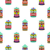 Hawaiian tiki mask seamless bright on white pattern vector. Royalty Free Stock Photography