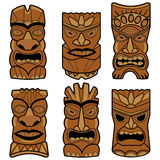 Hawaiian tiki statue masks set Royalty Free Stock Photography