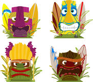 Hawaiian Tiki totem heads Stock Photos