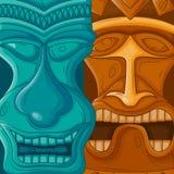 Hawaiian Tiki tribal mask. Vector design of Hawaiian Tiki tribal mask for religious or ethnic design Stock Photography