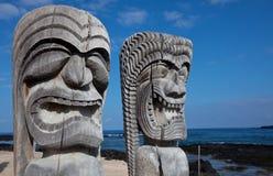 Hawaiian tikki. Ancient wooden statue -Hawaiian Tiki on Big Island stock photos