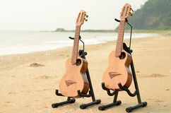 Hawaiian traditional instrument ukulele on the beach Royalty Free Stock Images