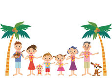 Hawaiian trip and three-generation family. Three-generation family makes hula happily in a south island stock illustration
