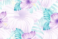 Hawaiian tropic jungle endless print. Tropical pattern. Pink blue neon exotic summer flower vector background. Beauty fasion monstera, palm leaves and hibiscus royalty free illustration