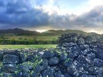 Hawaiian tropical coastline - Hana view of the mountains Stock Photography