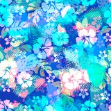 Hawaiian tropical floral seamless pattern. Royalty Free Stock Photos
