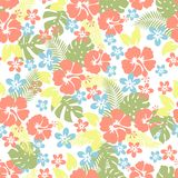 Hawaiian tropical floral seamless pattern. Stock Photo