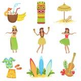 Hawaiian Vacation Set Of Classic Symbols Royalty Free Stock Photography