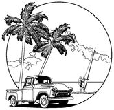 Hawaiian vignette bw. Vectorial bw round vignette with yellow old-fashioned pickup and two palms on sky and sea background. Image is one curve. No strokes Royalty Free Stock Images