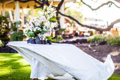Hawaiian Wedding Centerpiece. A beautiful arrangement during an outdoors hawaiian wedding Stock Images