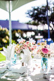 Hawaiian Wedding Centerpieces. A beautiful arrangement during an outdoors hawaiian wedding Royalty Free Stock Photo