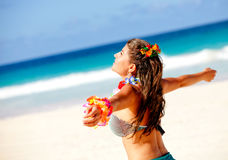 Hawaiian woman at the beach Royalty Free Stock Image