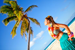 Hawaiian woman at the beach Royalty Free Stock Photo