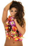 Hawaiian woman coconut bra hands in hair Royalty Free Stock Photos
