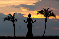 Hawaiian woman dancing in the sun Royalty Free Stock Image
