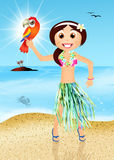 Hawaiian woman with parrot Royalty Free Stock Photography