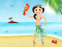 Hawaiian woman with parrot Royalty Free Stock Images