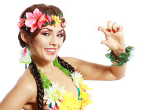 Hawaiian Woman showing small Royalty Free Stock Photo