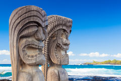Hawaiian wood carving. Traditional Hawaiian wood carving of guards at ancient Hawaiian site Pu'uhonua O Honaunau National Historical Park on Big Island, Hawaii Stock Image