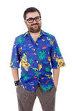Hawaiian. Young silly man with a hawaiian shirt, isolated Royalty Free Stock Photography