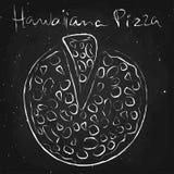 Hawaiiana pizza, rysująca w kredzie na blackboard Zdjęcia Royalty Free