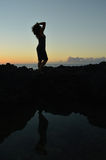 Hawaiin美人鱼双剪影 免版税库存图片
