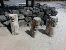 Hawaiin statues. Hawaiia in the City of Refuge Royalty Free Stock Photography