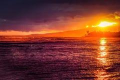 Hawaiin Sunset. Sunset over Ala Moana Beach, Honolulu, Hawaii on Memorial Day 2016 Royalty Free Stock Photos