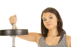 Hawaiin woman fitness hand on bar with weight Royalty Free Stock Photo