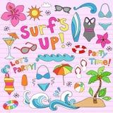 Hawaiischer Sommer-tropische Ferien-Gekritzel lizenzfreie abbildung