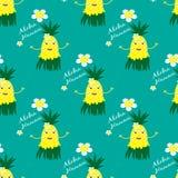 Hawaiisches nahtloses Muster mit lustiger Ananas Lizenzfreie Stockbilder