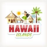 Hawaje literowania majcher aloha ilustracji