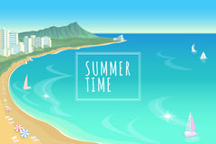 Hawaje oceanu zatoki błękitne wody nieba lata podróży wakacje pogodny tło Łódź piaska plażowych parasoli dnia gorąca scena ilustracji