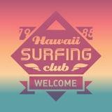 Hawaje surfingu klubu rocznika etykietka z fala Kipiel wektoru logo Zdjęcie Royalty Free